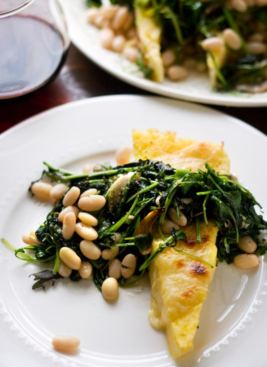 Easy baked polenta with greens from Little Fig